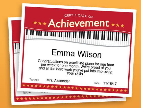 Piano Achievement Certificate, Piano Award Printables, child - certificate of achievement for kids