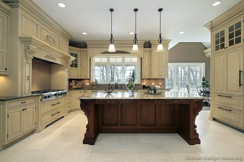 Kitchen Cabinets Traditional Two Tone 009a S27743500 Antique White Wood Hood Is Design Luxury Kitchens