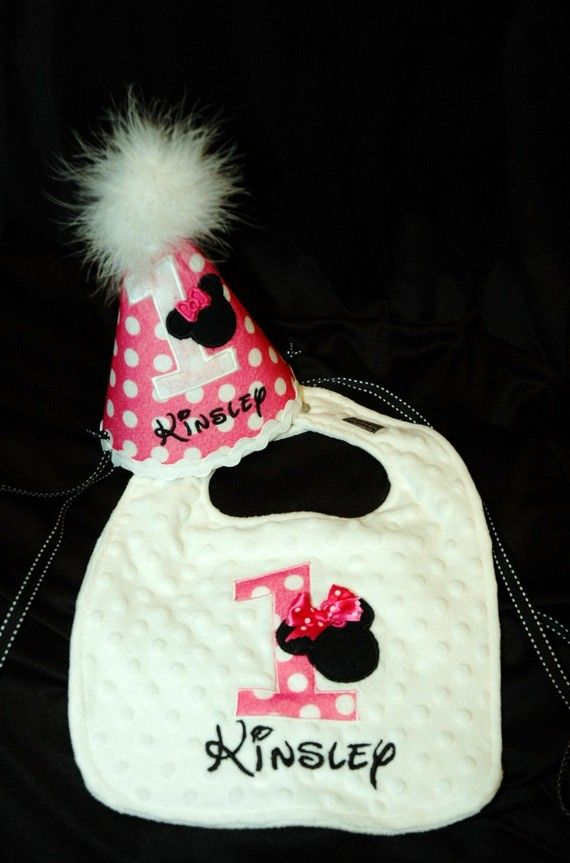 1st Birthday Girl Bib And Hat Combo Set LOVE That MOUSE Via Etsy