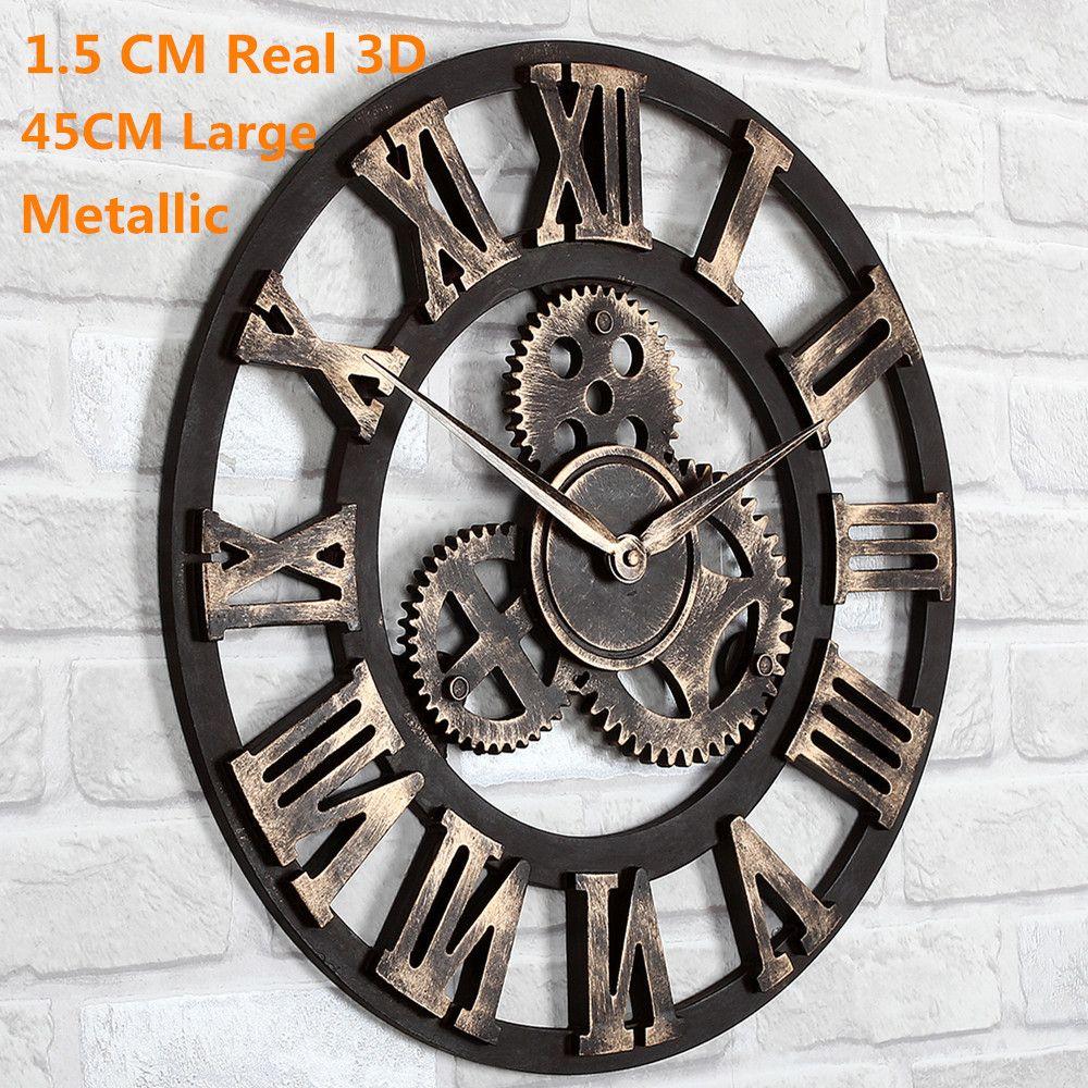 Oversized Large 3d Retro Rustic Decorative Luxury Art Vintage Big Gear Wall Clock Large O Giant Wall Clock Large Vintage Wall Clocks Large Mirrored Wall Clock