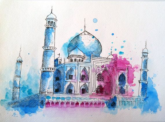 Taj Mahal City Art Watercolor Art Indian Art City Illustration