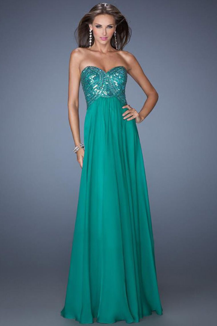 2014 Sweetheart A Line Beaded Bodice Backless Prom Dresses Flowing ...