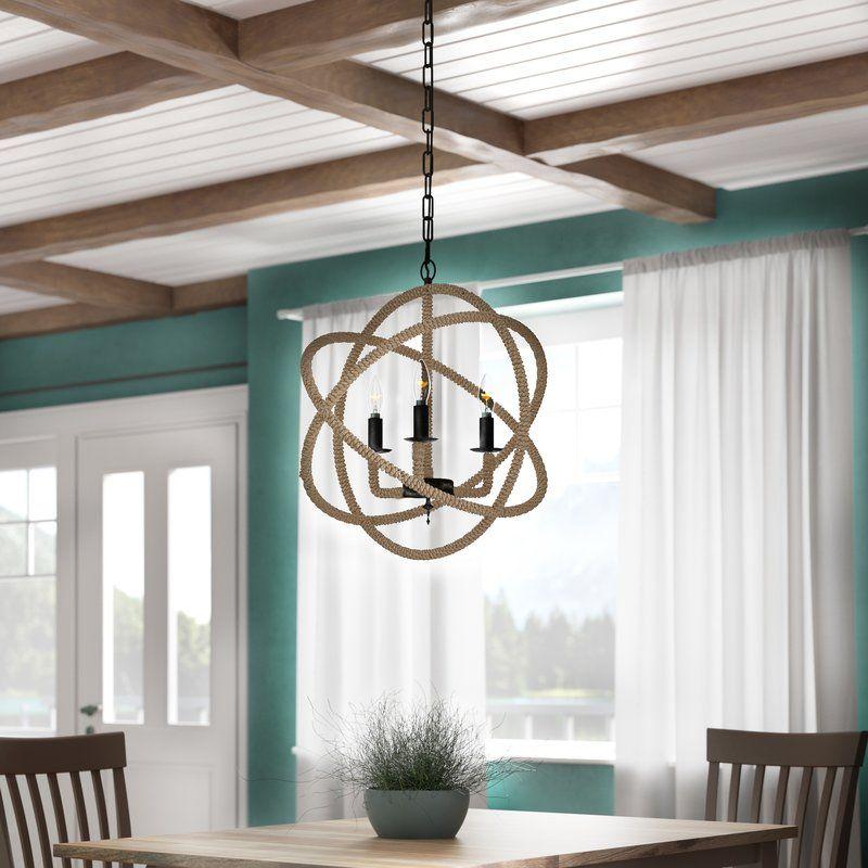 Dazelle 3 Light Candle Style Globe Chandelier With Rope Accents Globe Chandelier Beach Chandelier Coastal Chandelier