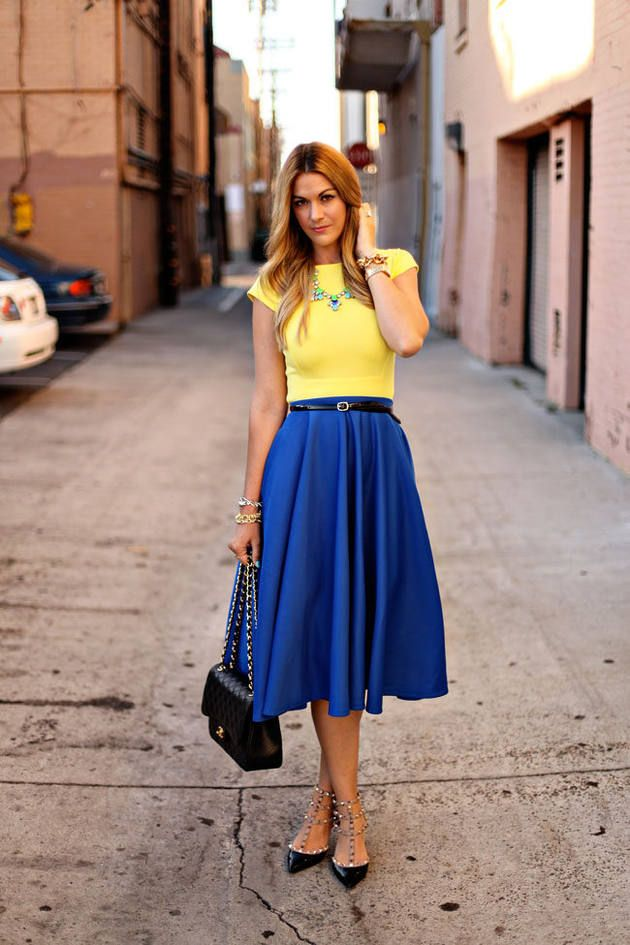 379d6f07b823 Birthday Brights Women fashion clothing outfit style blue skirt yellow top  shirt necklace bracelet shoes shoulder bag summer casual street