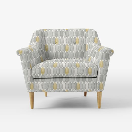 Photo Of Gray And Yellow Accent Chair Finn Armchair Painted Ovals Grayyellow Ny Apartment