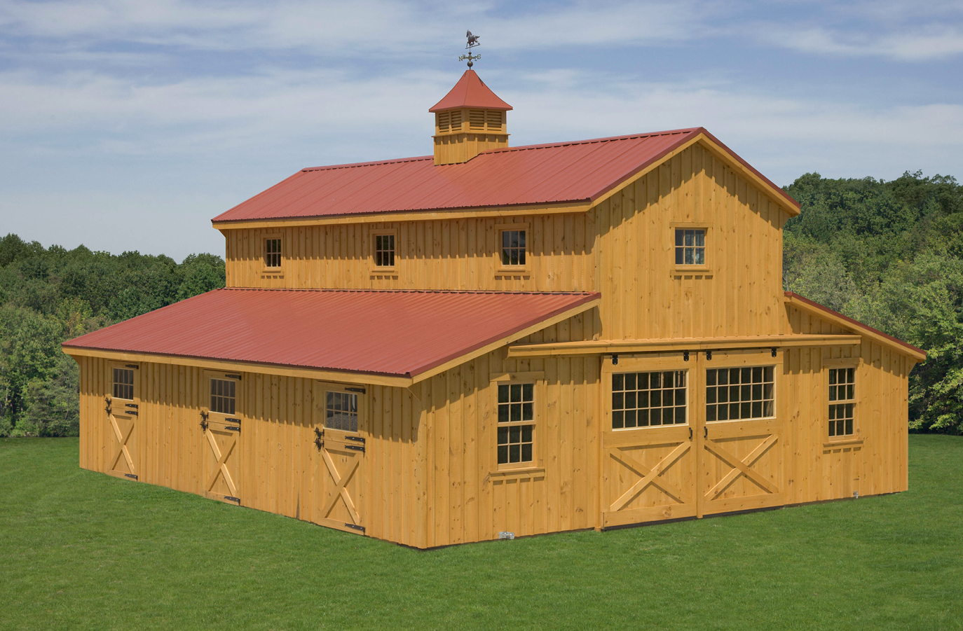 Barn designs north country sheds monitor horse barns for Metal barn designs