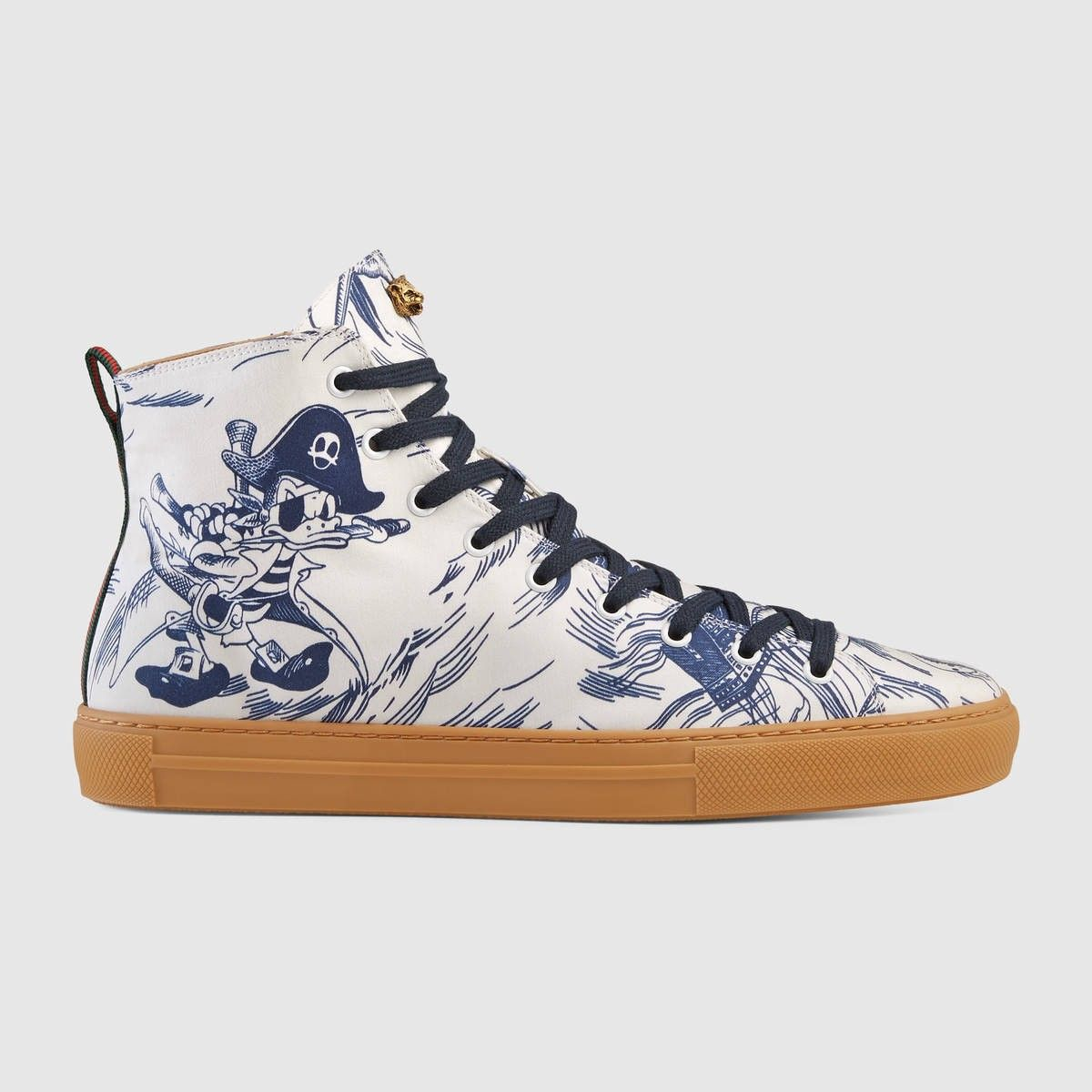 10043310167f GUCCI Sea Storm print high-top sneaker - blue canvas.  gucci  shoes ...