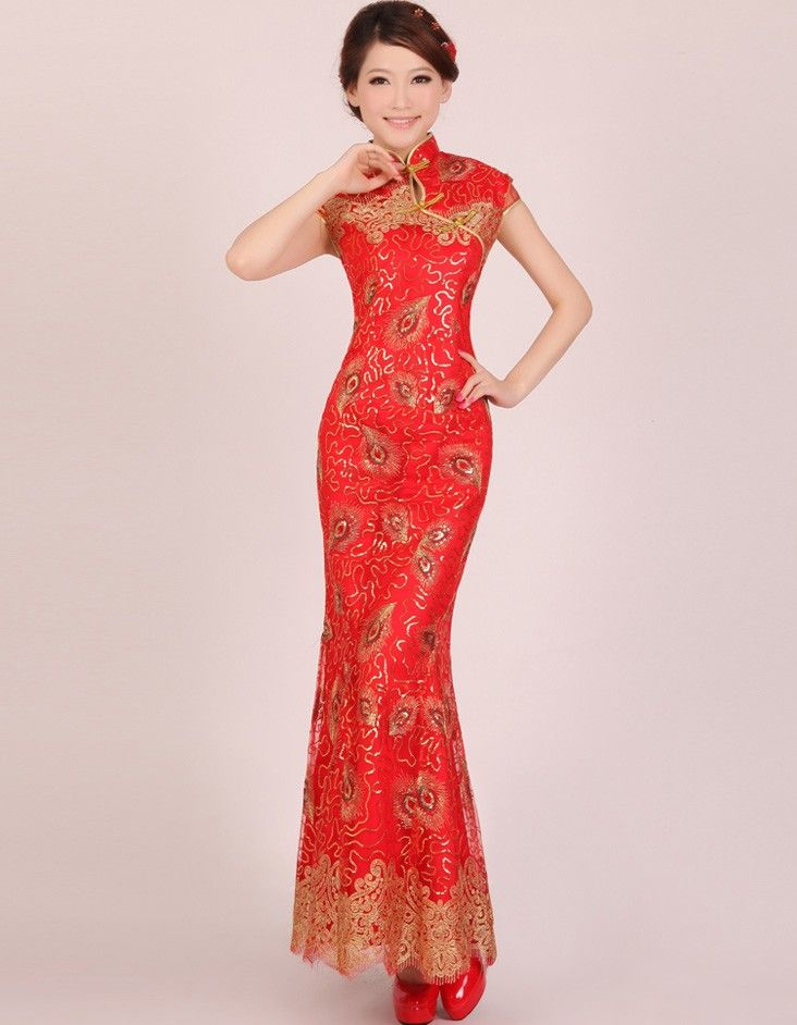 $87.49 - Ankle-length Wedding Embroidery Cheongsam Gown with Frog ...