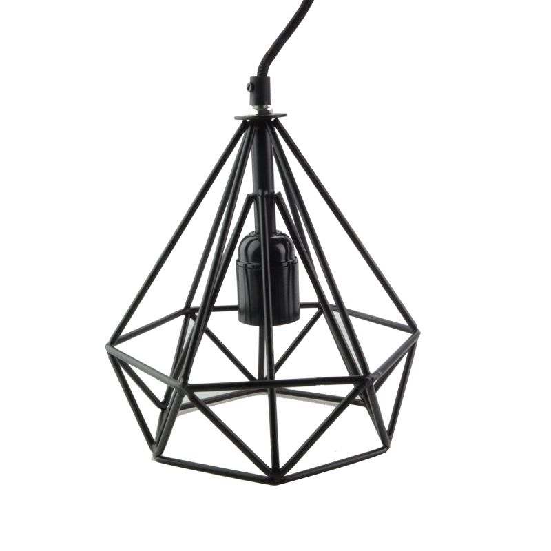 Wrought Iron Wall Lamp Shades : E27 diamond shape Hollow lamp holder wrought iron black paint pendant shade Vintage Pendant lamp ...