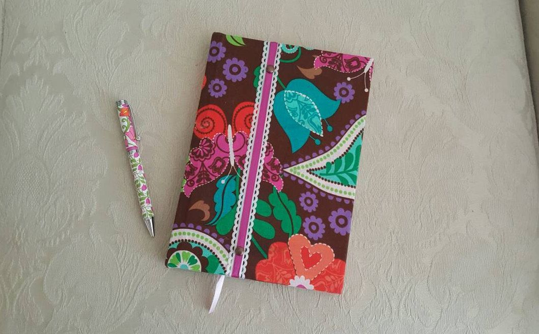 Whimsical Fabric Covered Journal Diary Notebook Log. Brown background fabric with flowers and paisley pattern by CloudBerryTrails on Etsy