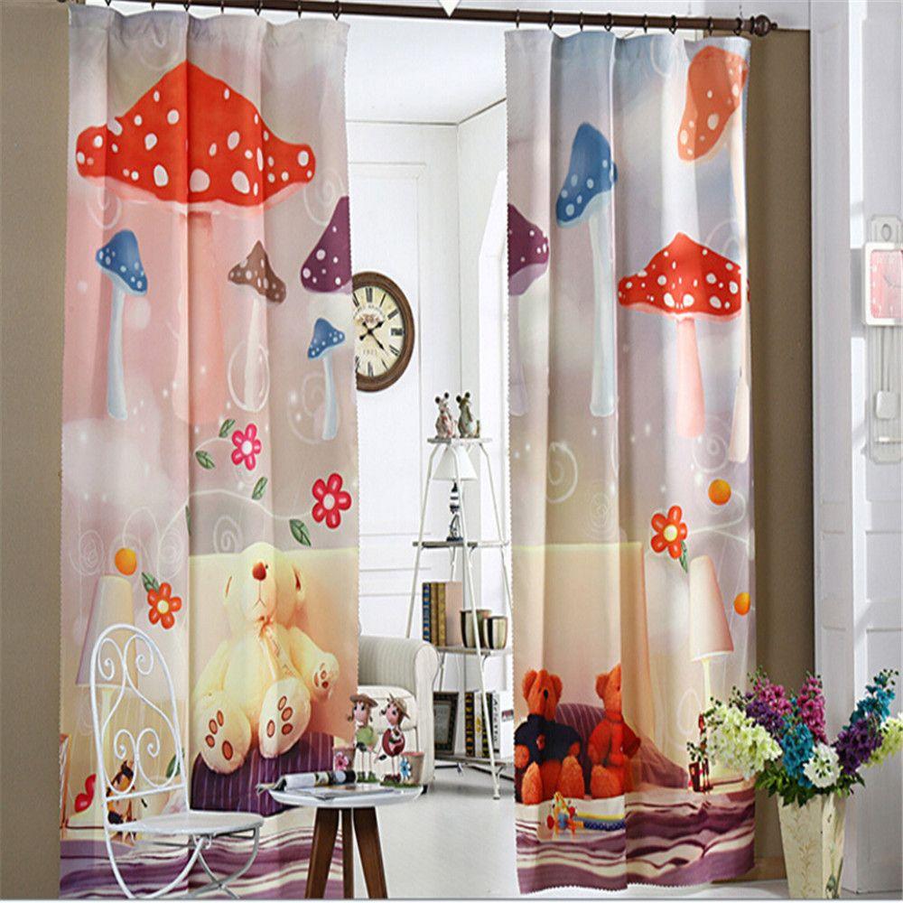 Korea Style Cartoon Mushroom Design 12D Kids Window Curtain For ...