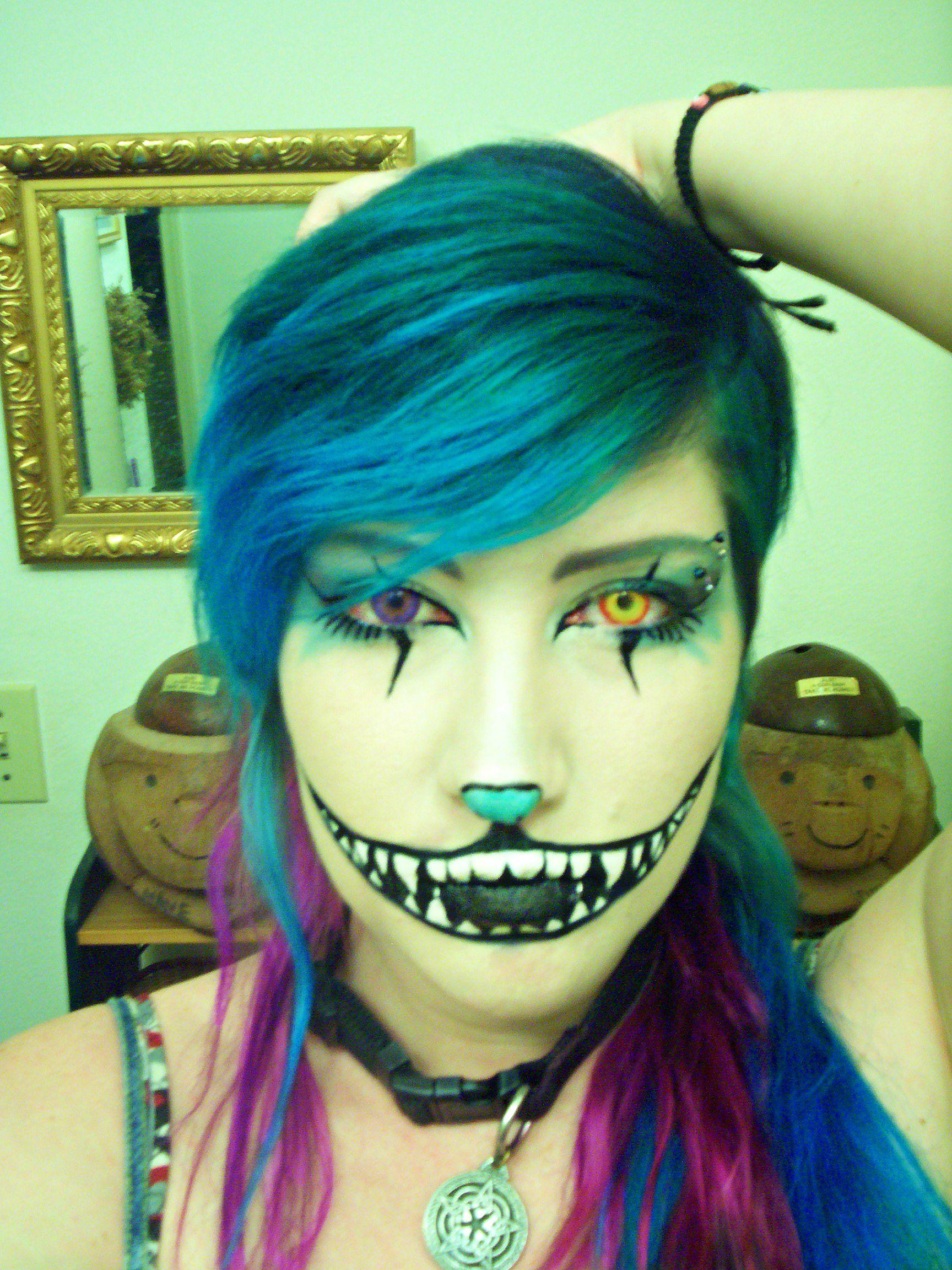 halloween diy cheshire cat makeup smile teeth grin blue purple ...