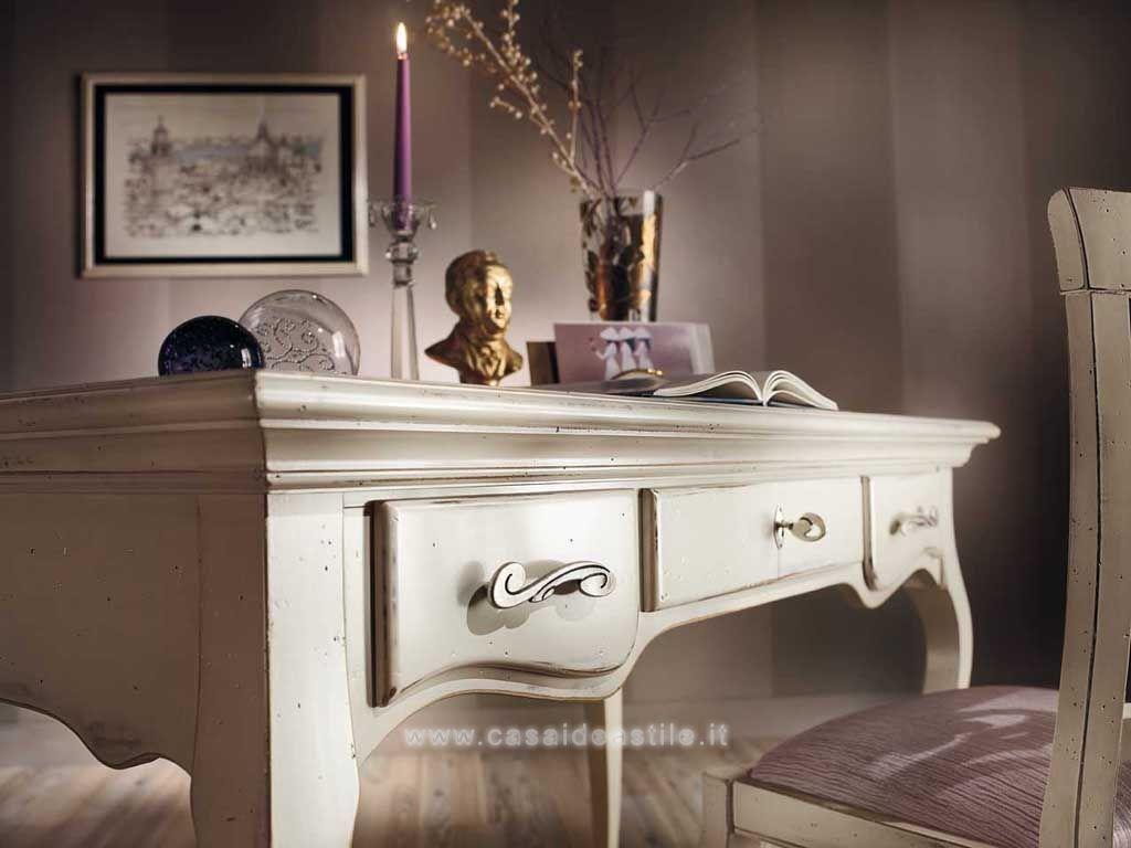 Scrivania 3 cassetti shabby chic mobili shabby chic for Idea casa mobili
