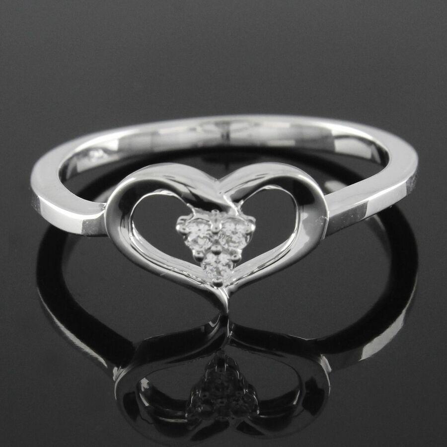 14K White Gold Over Round Cut D/VVS1 Diamond Heart Ring Valentine's Day Gift Cut#Diamond#White