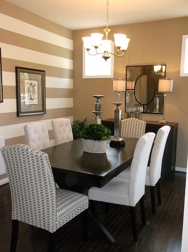 Traditional dining room with a striped accent wall for Living room accent wall ideas