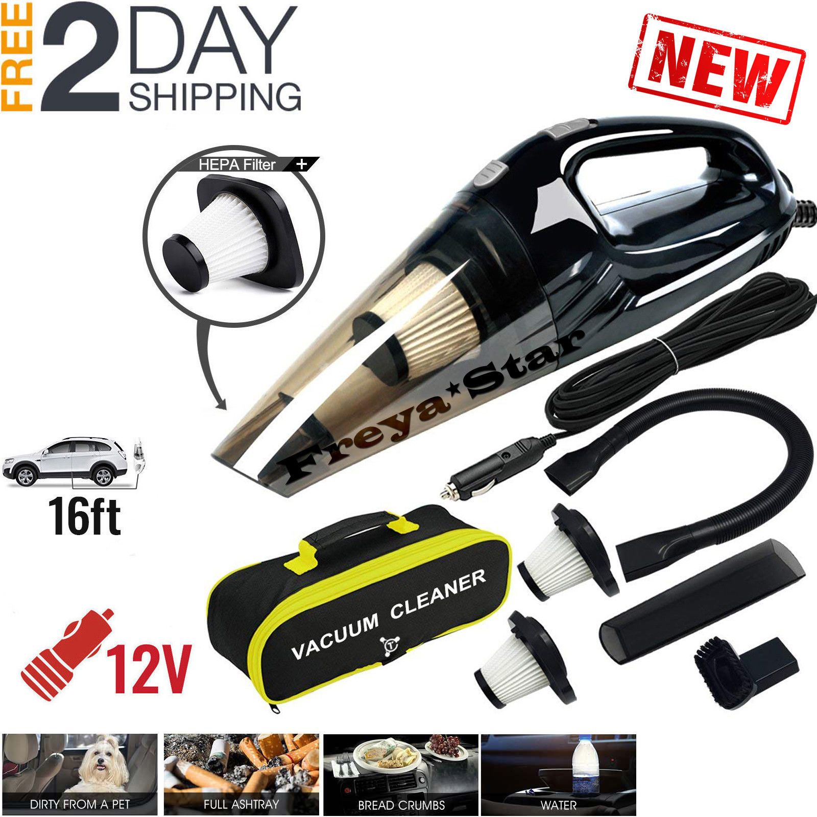 Details About Car Vacuum Cleaner 12v For Auto Mini Hand Held Wet Dry