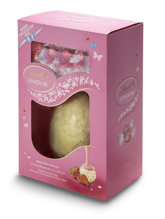 Lindt White Chocolate And Strawberry Easter Egg
