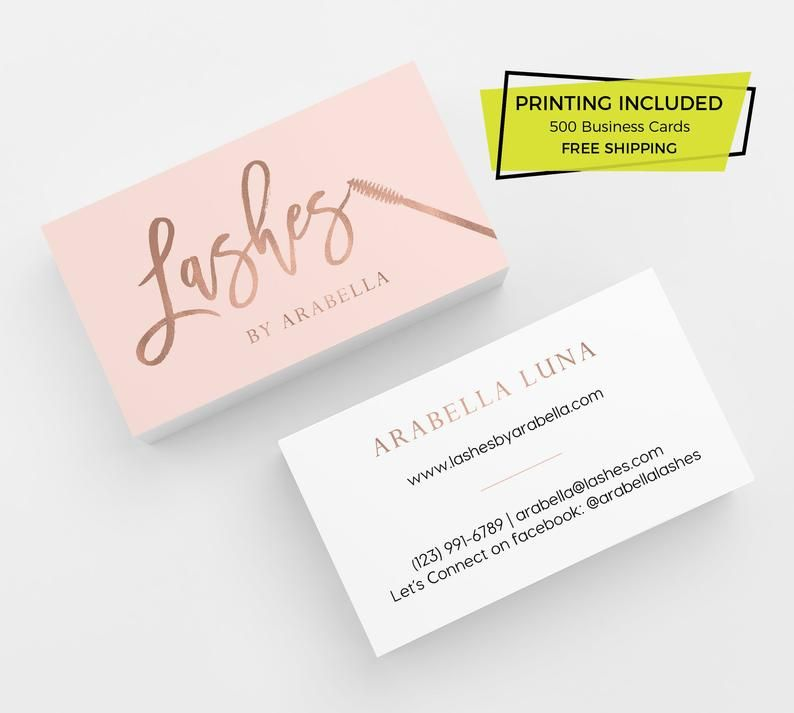 Pink Rose Gold Lashes Printed Business Cards Business Etsy In 2021 Printing Business Cards Beauty Business Cards Rose Gold Business Card
