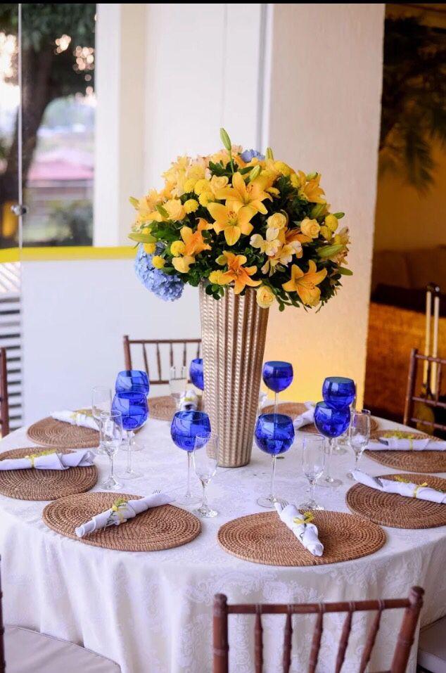 Casamento Tarde Recepo Decorao Em Amarelo Azul E Marrom
