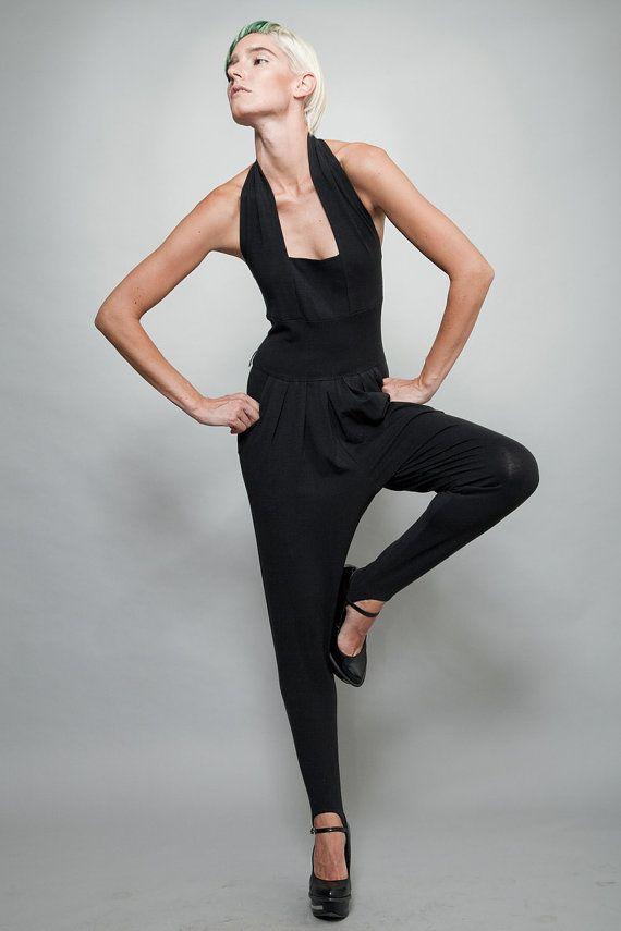 vintage 80s stirrup jumpsuit black stretchy di shoprabbithole