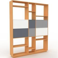 Photo of Wohnwand Buche – Individuelle Designer-Regalwand: Türen in Weiß – Hochwertige Materialien – 190 x 23
