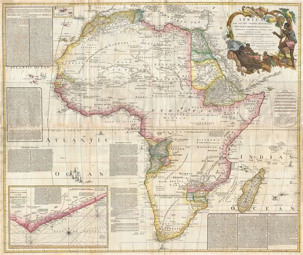 Map vintage north africa