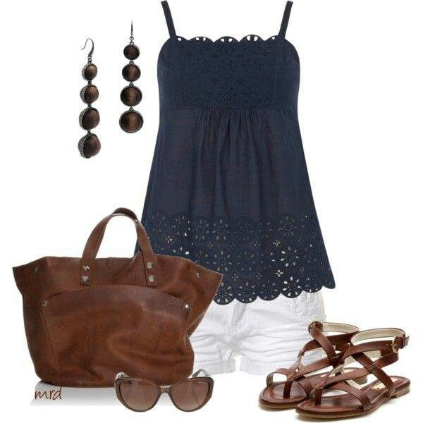 Navy blue, white, & tan outfit.