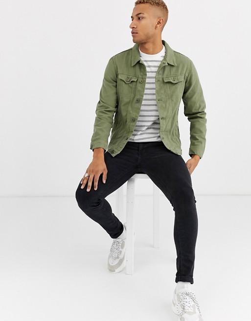 Pull Bear Denim Jacket In Khaki Asos Trucker Jacket Outfit Denim Jacket Outfit Popular Mens Jeans