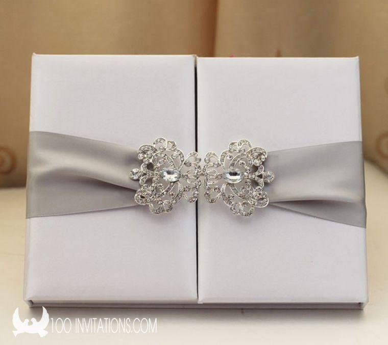 Elegant White Silk Box Wedding Invitations   Box Invitations ...