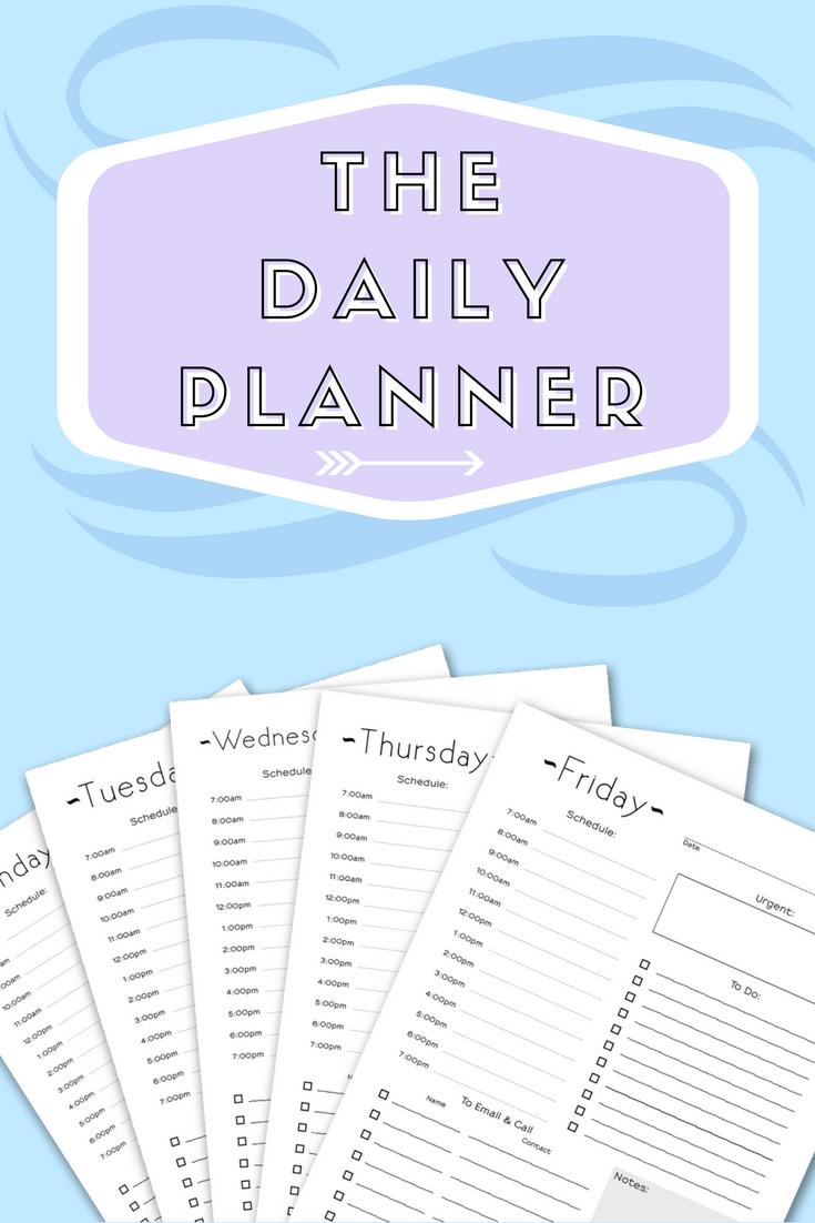 Daily Work Planner  Daily Planner Insert  Work Schedule  Day