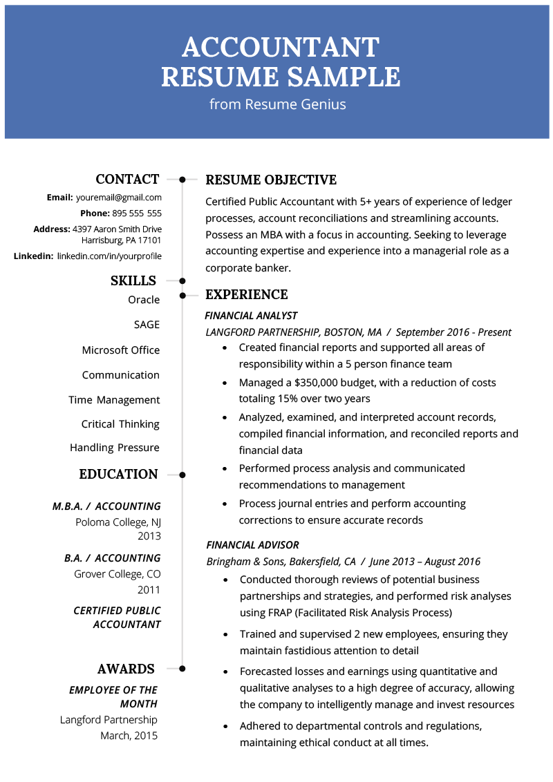 Accountant Accounting Resume Example Template RG