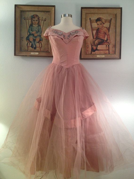 Glamorous 1950s Soft Pink Prom Dress--Aurora Borealis Sequins and ...