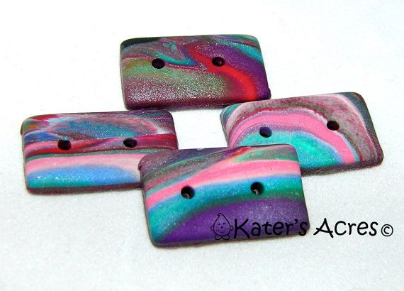 MARBLED Rectangle Polymer Clay BUTTONS  Set of 4 in by KatersAcres