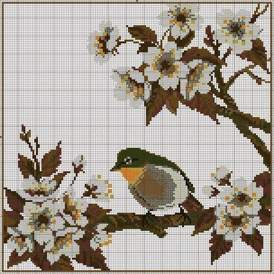 78 gráficos de flores em ponto cruz para imprimir | Kreuzstich vogel ...