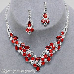 16306f1a2 Elegant Costume Jewelry | ... Red Crystal Formal Prom Necklace Set ...