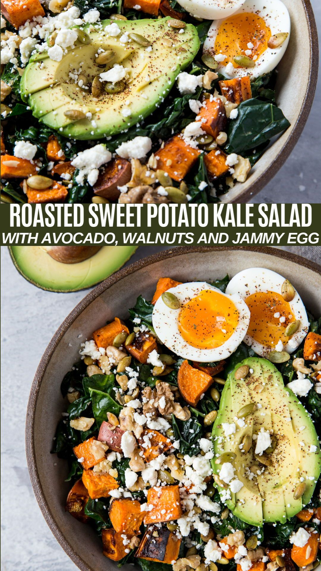 Roasted Sweet Potato Kale Salad with Avocado and Jammy Egg