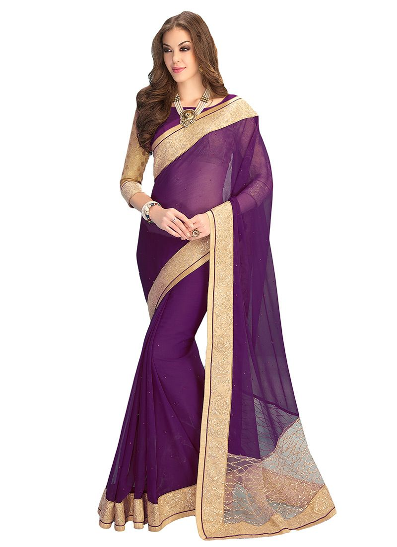 Buy Dark Purple Chiffon Border Saree online from the wide collection ...