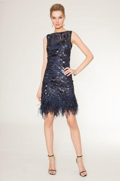 Sequin Sleeveless Dress With Feather Trim Teri Jon Dresses Pretty Blue Dress Blue Cocktail Dress