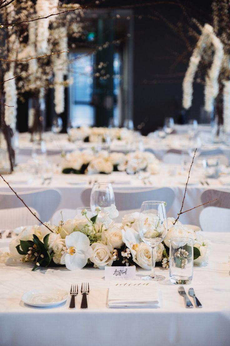 Yacht wedding decoration ideas  White Winter Rustic Wedding Centerpiece  branches orchids blush