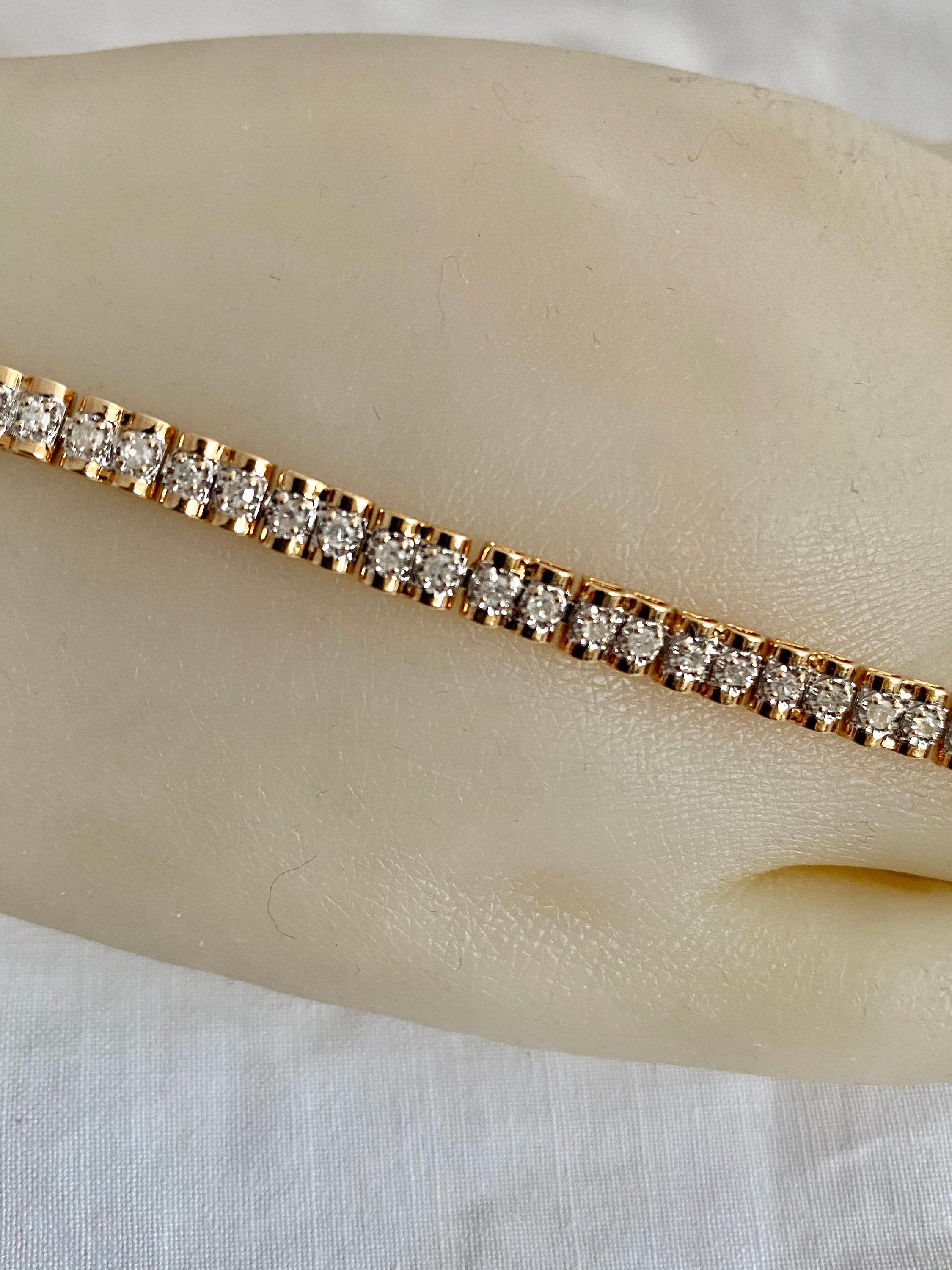 10k Gold 54 Diamonds Tennis Bracelet Unique Design Done Barrel Etsy White Gold Bracelet Tennis Bracelet Diamond Bracelets