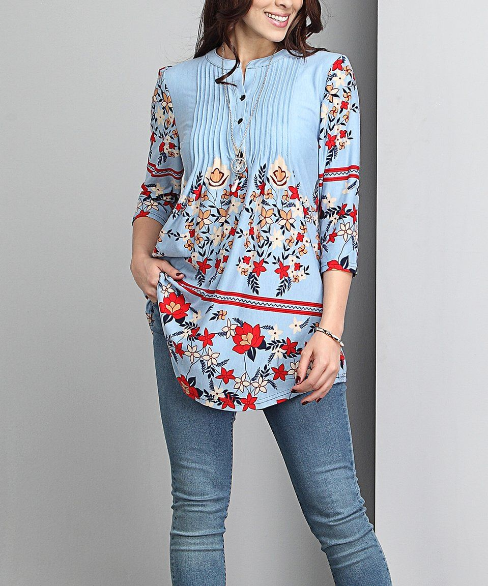 Take a look at this Blue Floral Notch Neck Pin Tuck Tunic - Plus today!