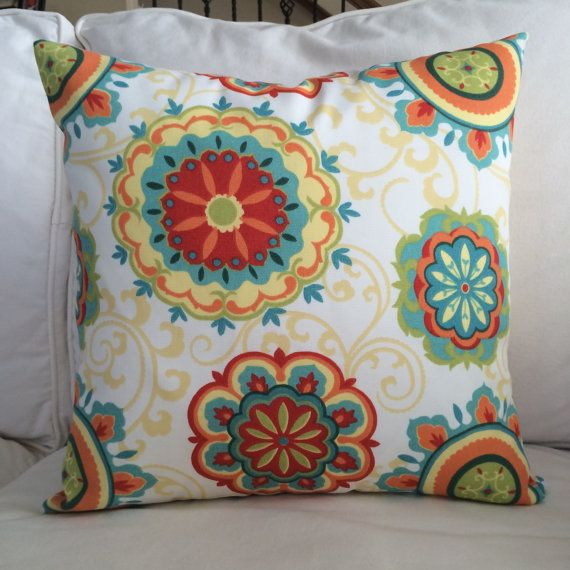Indoor Outdoor Zippered Throw Pillow Cushion Cover Red Yellow