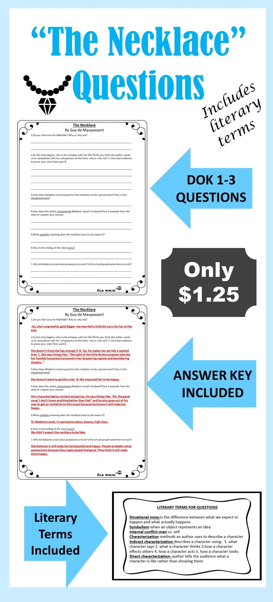 The Necklace Questions Literary Terms Reading Classroom Comprehension Questions