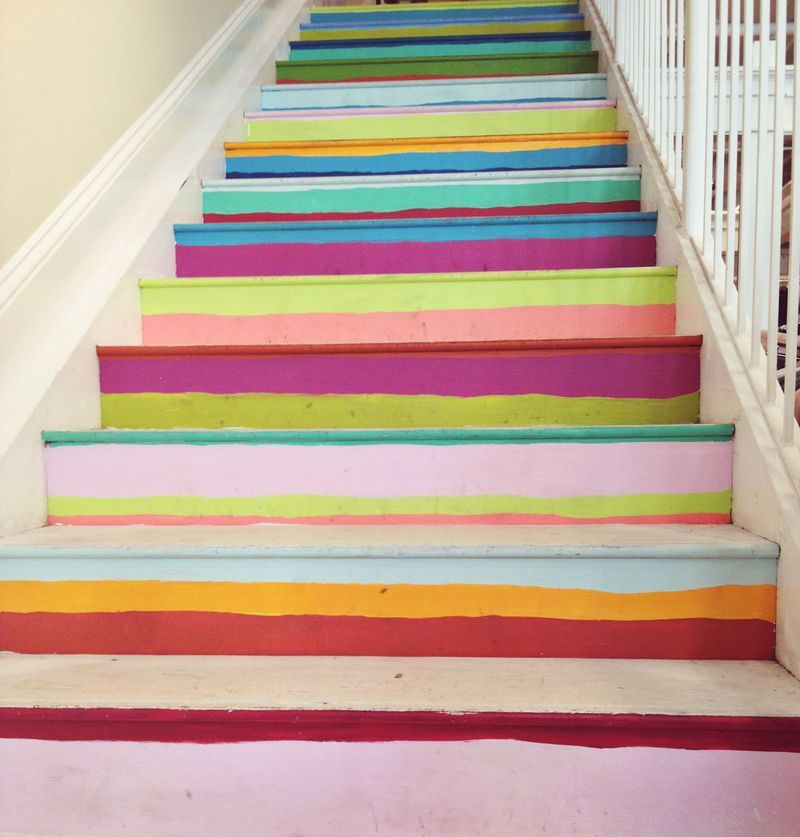 21 Attractive Painted Stairs Ideas Pictures: Holy Hellcats I Love These Stairs. Totally Need To Courage