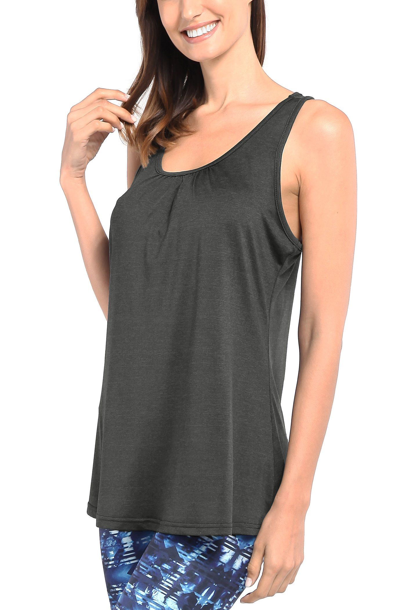 ab75a30eb42627 pregnancy workout - Nandashe Loose Fitting Tank Tops 2018 Summer Fashion  Round Collar Pure Color Burnout