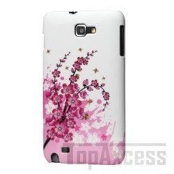 Coque arrière Motif Fleurs de Pecher Fond Blanc pour Samsung Galaxy Note N7000