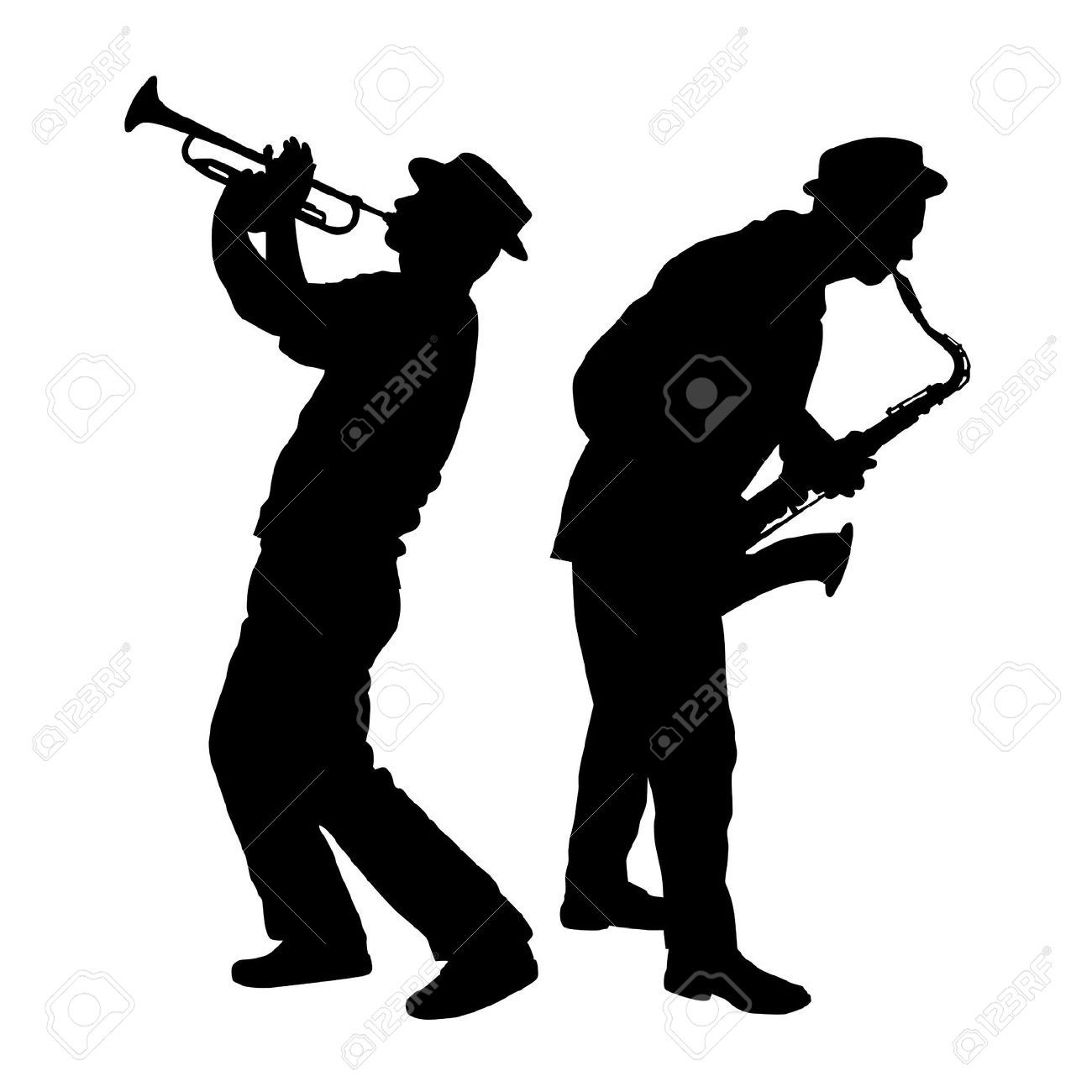 Silhouette Of A Saxophone And Trumpet Player Royalty | Контур ...