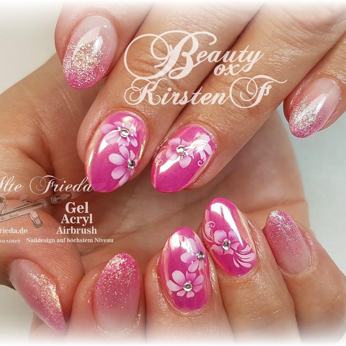 Pinke Nägel mit Aurora Pigment Airbrush und Glitter Www.alte-frieda ...