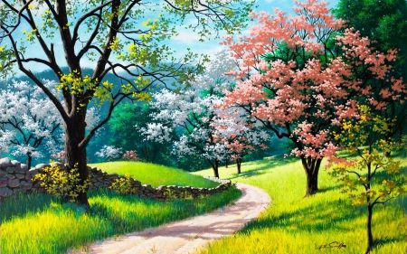 Spring In Nature Spring Colorful Blossom Painting Colors Nature Art Spring Landscape Landscape Paintings Spring Painting
