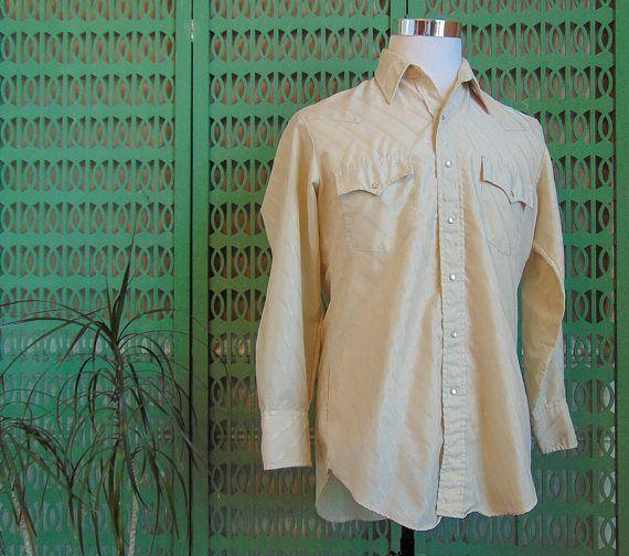 7724fe9132 Vintage Mens Western Shirt Pearl Snap Button Down Shirt Pin Stripe ...